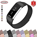 FunBand for Fitbit Charge 2 Mental Bands,Milanese Stainless Steel Adjustable Replacement Accessory Bracelet Bands (Small or Large) with Convenience Magnet Lock for Fitbit Charge 2 Fitness Wristband