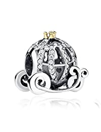 PAHALA 925 Sterling Silver Openwork Cinderella Pumpink With 14 Gold Plated Crown Charm Bead