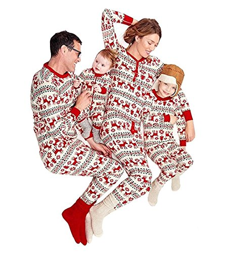 U-WARDROBE Family Matching Christmas Stripes Pajamas Sets Cotton Sleepwear Nightwear For Papa Mama Kids Baby Father Only L (Pyjamas And His Christmas Hers)