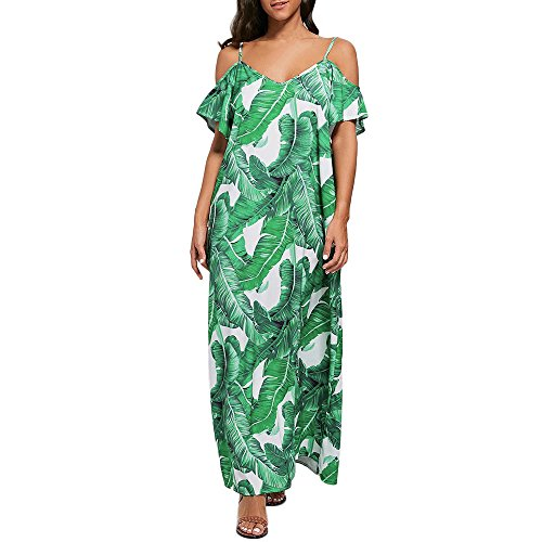 Womens Floral Sundress Leaf Printed Strapless Dress Ladies Summer Beach Sling Loose Dresses Green ()