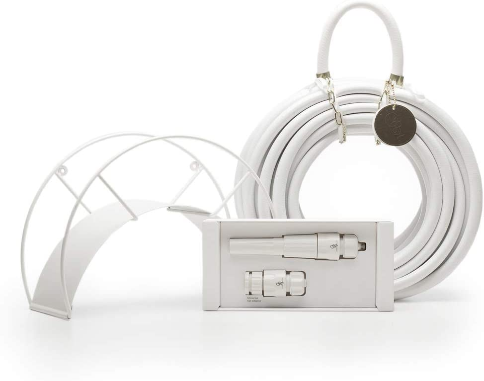 White Garden Hose and Hose Holder Kit - White Snake - Exclusive Designed Water Hose, Wall Mounted Hose Hanger, and Nozzle (Multiple Colors Available)