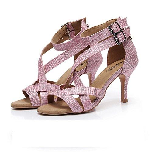 Chaussures d'Intérieur Danse Sandales de Latine en Sangle BYLE de Onecolor Chaussures Modern'Jazz de Chaussures Samba Rose 75cm Cheville Cuir Danse nOqSnYwa