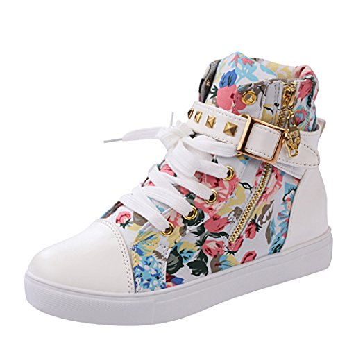 iMaySon Womens Skull Canvas Lace-up Zipper Increat Confortable