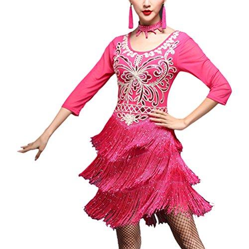 Del Di Zhuhaitf Abito Donne Rossa Ballo Sera Prestazione Rosa Liscio Nappa Dell'annata Delle Costume Latino Da Partito wqROxPq