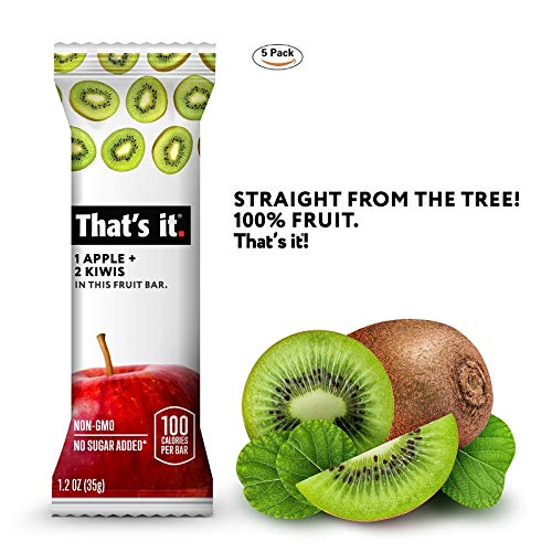 Thats it. Apple 100% Natural Real Fruit Bar, Best High Fiber Vegan, Gluten Free Healthy Snack, Paleo for Children & Adults, Non GMO No Added Sugar, No Preservatives Energy Food (Kiwi, 5 Pack)