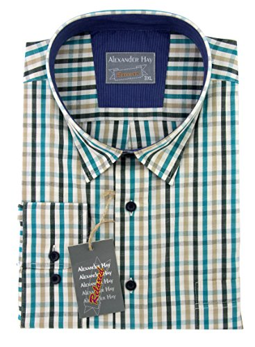 Da uomo Casual in cotone verde marrone nero blu a quadri a maniche lunghe camicie da Alexander Hay Green X-Large