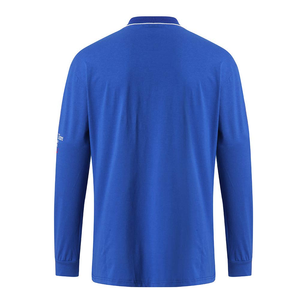 Mens Long Sleeve T-Shirt,Lapel Summer Tops Letter Print Button Blouse Top Tee Blue,M