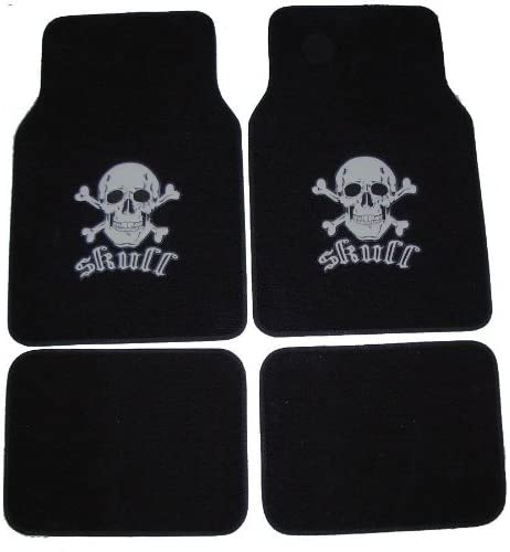 A set of 4 universal fit plush carpet floor mats for cars / truck – Skull and Cross Bone Silver