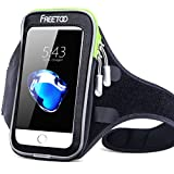 Sport Armband FREETOO Intelligent Touchscreen Water Sweat Resistant Armband Cell Phone Bag Case with Key Holder 3 Headphone Ports Cable Locker for Running Jogging Cycling Hiking black
