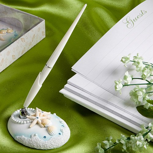 Fashioncraft Finishing Touches Collection Beach Themed Wedding Pen and Holder Set