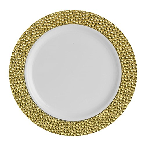 Posh Setting Hammered Collection 10 Pack China Look 7.25 Inch Gold/White Plastic Appetizer/Salad Plates, Elegant Disposable Dinnerware