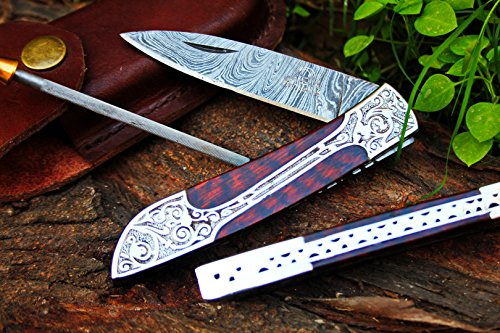 Victorian Snake - DKC-37-SE VICTORIAN Damascus Folding Pocket Knife Snake Eyes Wood 7.75