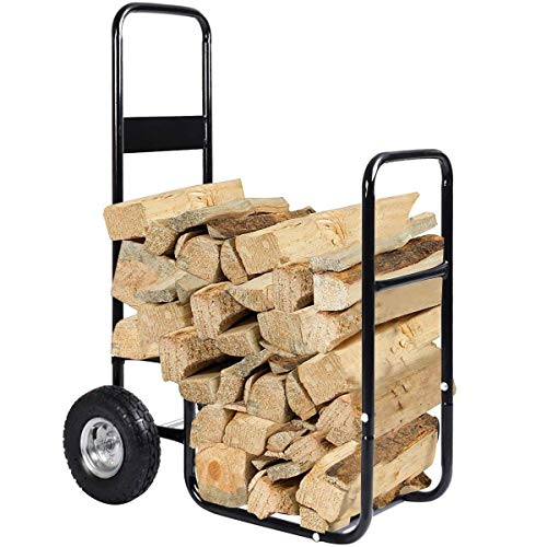 Goplus Firewood Log Rack Indoor Outdoor Fireplace Storage Holder Logs Heavy Duty Steel Wood Stacking Holder Kindling Wood Stove Accessories Tools Accessories (w/ 2 Wheels)
