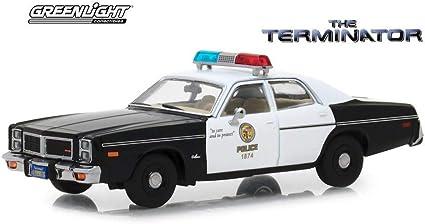 Dodge Mónaco Police 1977 negro blanco Terminator maqueta de coche 1:24 GreenLight