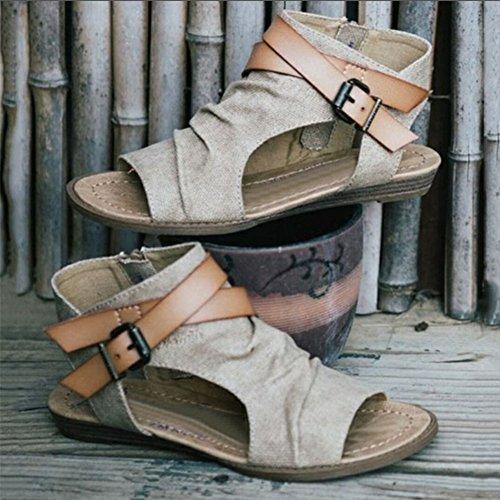 Casual Beach Summer Womens Gladiator 36 Böhmen Fit Atmungsaktiv Schuhe 42 Braun Outdoor Wide Schwarz Adult Sandalen Toe Grau Khaki Juleya Open Damen Flache Schwarz Z6Fdqwq