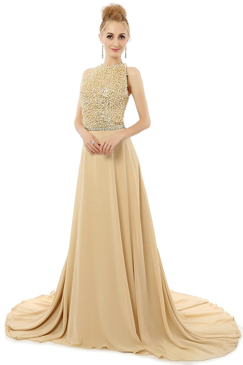 HONGFUYU Gorgeous Pearls Backless A-line Long Formal Evening Dress Wedding Party Prom Gown