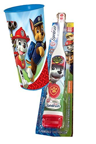 """Paw Patrol """"Marshall Inspired"""" 2pc. Bright Smile Oral Hygiene Set! (1) Paw Patrol Turbo Power Spin Toothbrush Batteries Included Plus Paw Patrol Mouth Wash Rinse Cup!"""