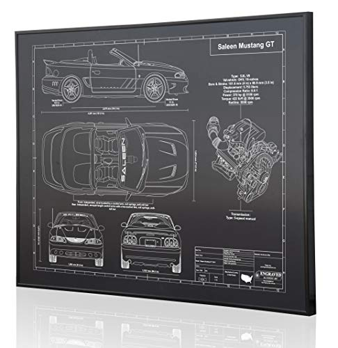 Ford Mustang Saleen Blueprint Artwork-Laser Marked & Personalized-The Perfect Ford Gifts