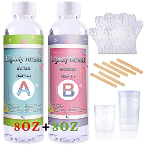 Epoxy Resin Coating Kit - 16 Ounce Kit Crystal Clear Resin for Art, Jewelry, Art Work,Wood finishes, See Through Encapsulations - Bonus 4 pcs Graduated Cups, 6pcs Sticks