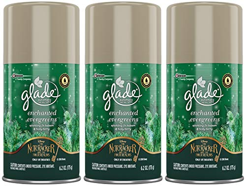 Glade Automatic Spray Refill - Holiday Collection 2018 - Enchanted Evergreens - Net Wt. 6.2 OZ (175 g) Per Refill Can - Pack of 3 Refill Cans