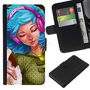 Sony Xperia Z4 / Sony Xperia Z4V / E6508 , la tarjeta de Crédito Slots PU Funda de cuero Monedero caso cubierta de piel ( Blue Hair Woman Headphones Grunge Drawing)