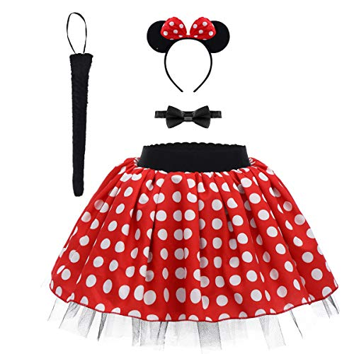 (Minnie Costume Baby Kids Girls Vintage Polka Dot Ruffle Tulle Skirt+Ears Headband+Bow Tie+Tail Tutu Set Christmas Halloween Costume 4pcs Birthday Outfit for Photo Party Dress up Cosplay Red)