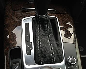 Black Leather-Black Thread Compatible with Audi Q7 2007-15 RedlineGoods Shift Boot DSG