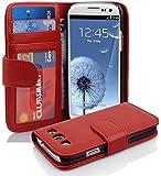 Cadorabo - Funda Samsung Galaxy S3 / S3 NEO (I9300) Book Style de Cuero Sintético en Diseño Libro - Etui Case Cover Carcasa Caja Protección con Tarjetero en ROJO-INFIERNO