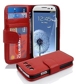 Cadorabo – Funda con Tapa para Samsung Galaxy S3/S3 Neo (i9300) – Estuche-Carcasa Protectora con 3 Ranuras para Tarjetas en Color Rojo Infierno.