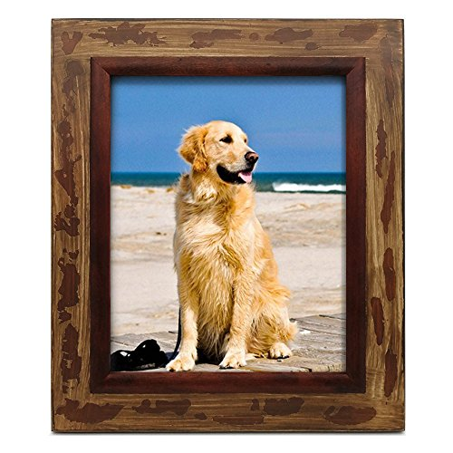 icheesday 8x10 Picture Frames,Antique Rustic Wood Photo Frames With Glass Front,Wall Mount Hangers and Table Top Easel,8 By 10 -