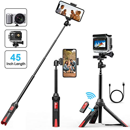 Selfie Stick Tripod, VPROOF 45 Inch Extendable Bluetooth Selfie Stick Tripod with Detachable Remote, Compact...