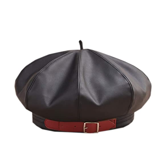 ACVIP Women s Polyurethane Leather French Beret Cap (Black) at ... deab152c1364
