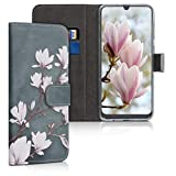 kwmobile Wallet Case for Samsung Galaxy A50 - PU Leather Protective Flip Cover with Card Slots and Stand - Taupe/White/Blue Grey