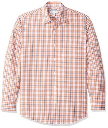 Amazon Essentials Men's Regular-Fit Long-Sleeve Casual Poplin Shirt, Coral/White, Large ()
