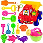 Cinhent 14PCS Beach Toys Deluxe Playset for Kids Toddlers - Large Dump Truck Sand Shovel Set Bucket Shovels Fish Crab Sand Molds -Large Hourglass Sand Shovel Bucket Tool