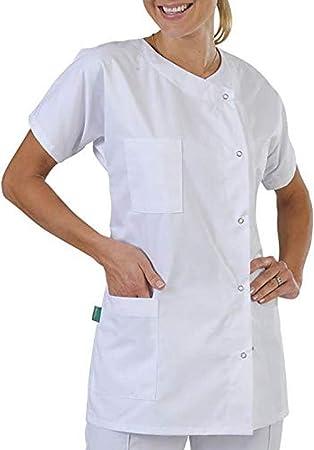ღLILICATღ Unisex Bata de Médico Laboratorio Enfermera Sanitaria Algodón, Mujer Hombre Camisa de Trabajo Blanca de Multi-Bolsillo Manga Larga XXXS - 6XL: Amazon.es: Hogar