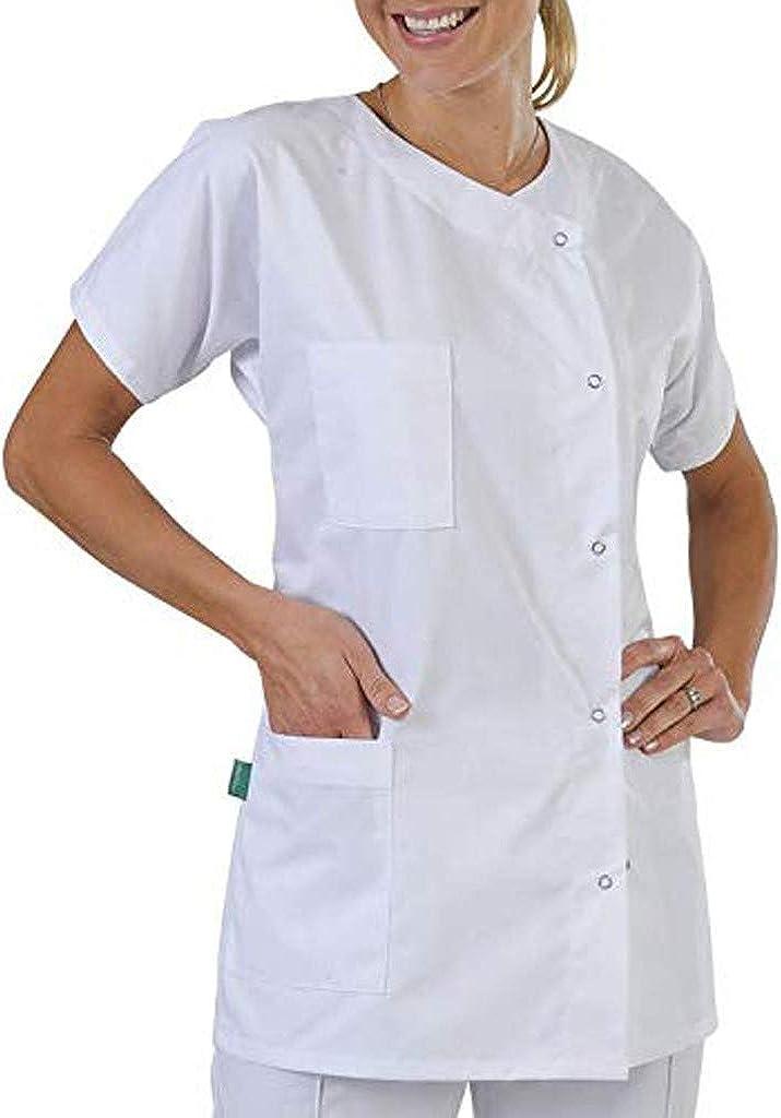 FAVARAL Blouse Tunique m/édicale Femme 3 Poches col Carr/é Couleurs Unie Blanc /à Manches Courtes Lavage Machine 90 degr/és ou Industriel
