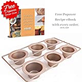 Popover Pan 6 Cup Bakeware by Hahn Professional 6 Non Stick Cups Easy Clean Cast Iron Cookware FDA PTFE PFOA 2 Year Guarantee Free Popover Yorkshire Pudding Recipe Book Champagne 380x225x45mm