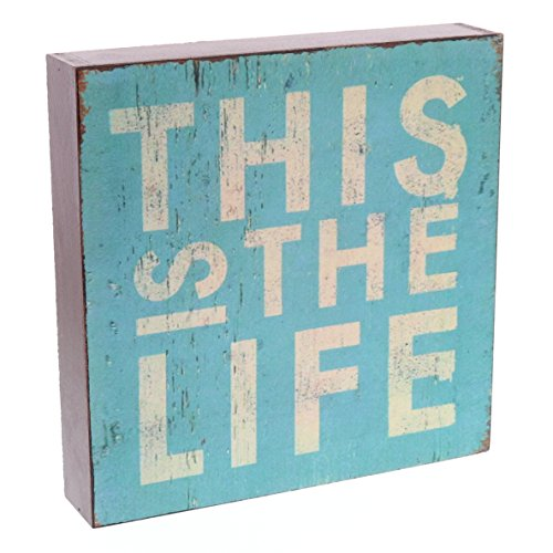 """Barnyard Designs This is The Life Wooden Box Wall Art Sign, Primitive Country Farmhouse Home Decor Sign with Sayings 8"""" x 8"""""""