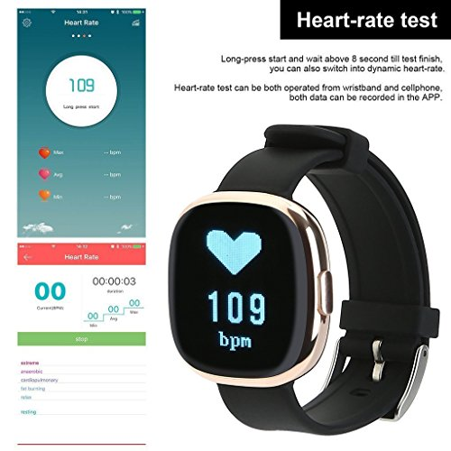 Waterproof Bluetooth Smart Watch with Blood Pressure /Heart Rate / Sleep Monitor Sports Fitness tracker Watch smart band Pedometer for IOS Android Smartphone by Tibang Fitness (Image #5)