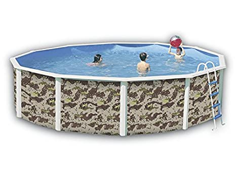 TOI - Piscina CAMUFLAJE CIRCULAR 350x120 cm Filtro 3,6 m³/h.: Amazon.es: Juguetes y juegos