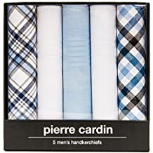 Pierre Cardin Designer Fashion Handkerchiefs for Men-5 Pack Gift Sets in Solid Colors and Patterns, 100% Pure Cotton
