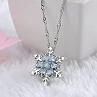 Meenanoom Fashion Women Lady Crystal Snowflake Frozen Flower Silver Necklace Pendant Chain