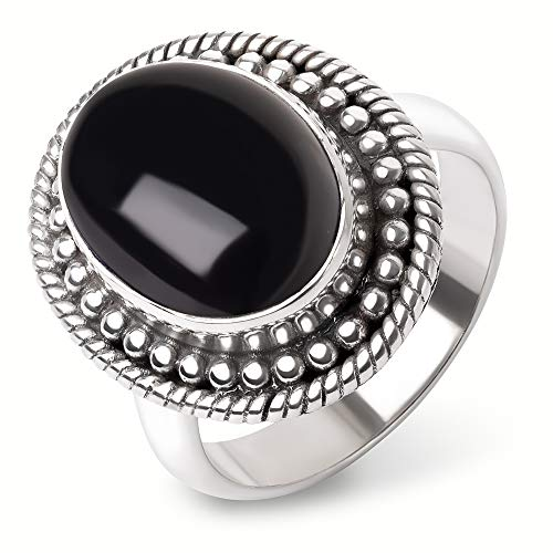 SUVANI Sterling Silver Black Onyx Gemstone Cabochon Oval Shaped Dots & Rope Edge Band Ring Size 7