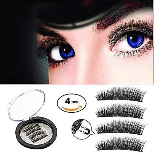 Magnetic False Eyelashes, Dual Magnets 0.2mm Ultra Thin 3D Reusable Handmade Extension Fake Eyelashes, Seconds to Apply Ultra Solf And Long for Entire Eyes(1 Pair/4 Pcs)