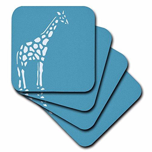 Giraffe Table (3dRose CST_186787_1 Teal & White Giraffe Soft Coasters, (Set of 4))