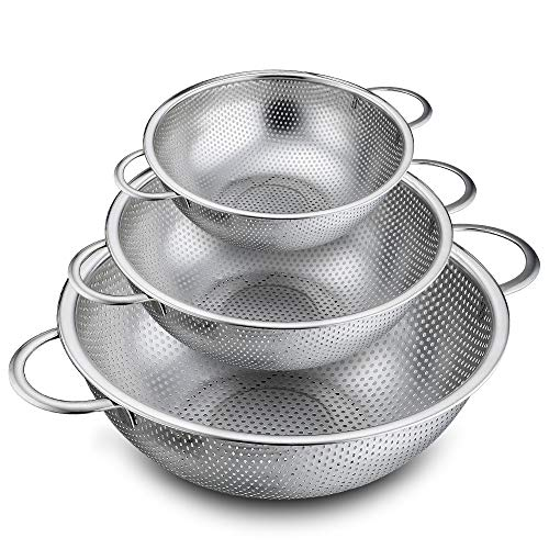 - P&P CHEF Colander Set of 3, Stainless Steel Micro-Perforated Colanders Strainers for Draining Rinsing Washing, Ideal for Pasta Vegetables Fruits, Heavy Duty & Dishwasher Safe - 1/3/5 Quart