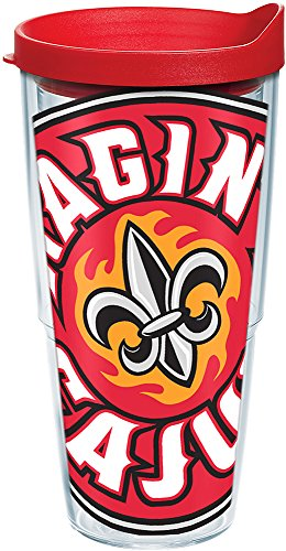 Tervis 1088850 Louisiana Lafayette Ragin' Cajuns Colossal Tumbler with Wrap and Red Lid 24oz, ()