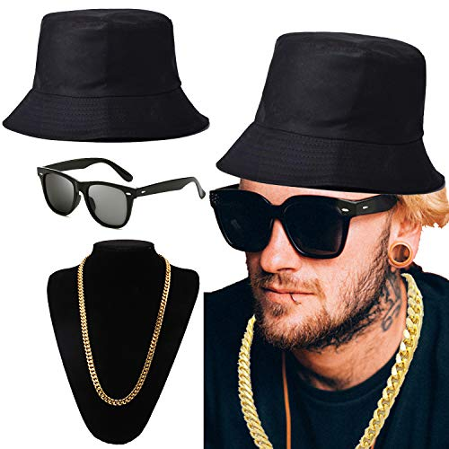 (ZeroShop 80s/90s Hip-Hop Costume Kit - Cotton Bucket Hat,Gold Chain Beads,Oversized Rectangular Hip Hop Nerdy Lens Sunglasses (OneSize,)