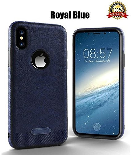 - iPhone X case, iPhone 10 Case leather, slim with tempered glass (Navy Blue)